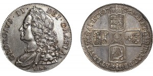 George II, Silver Crown, 1746. LIMA below bust.