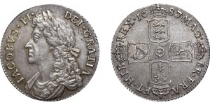 James II, Silver Shilling, 1687/6 G over A in MAG