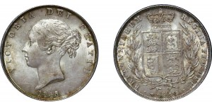 Victoria, Silver Half-crown, 1845 over 3