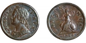 George III, Copper Farthing, 1754