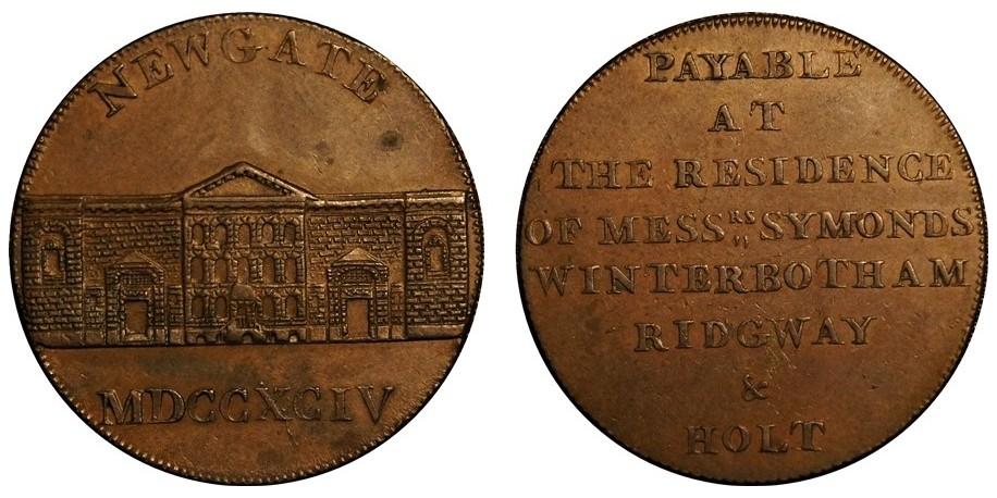 Middlesex. Newgate. Halfpenny Token. 1794. D&H 393.