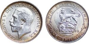 George V, Silver Shilling, 1918.
