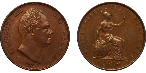 William IV, Copper Halfpenny, 1837