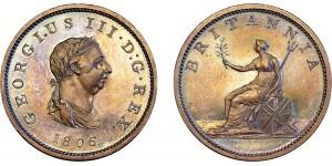 George III, Proof Copper Halfpenny, 1806.