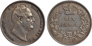 William IV, Silver Sixpence, 1831.