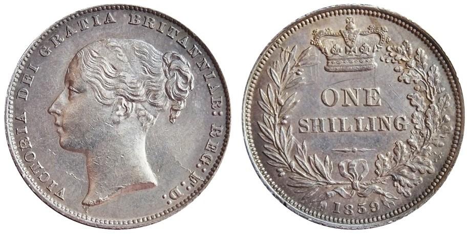 Victoria, Silver Shilling, 1859.