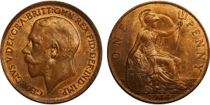 George V, Bronze Penny, 1914