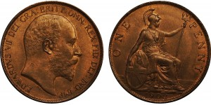 Edward VII, Bronze Penny, 1902 . High Tide