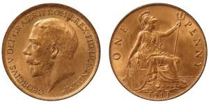 George V, Bronze Penny, 1911