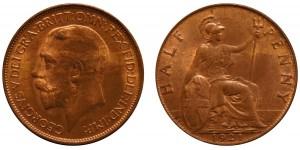 George V, Bronze Halfpenny, 1921