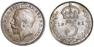 George V. Silver Threepence. 1921.