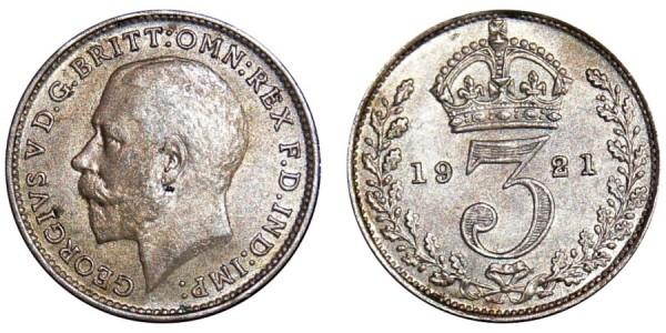 George V. Silver Threepence. 1921.