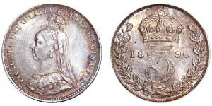 Victoria. Silver Threepence. 1890.