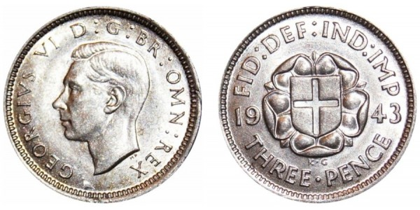 George VI. Silver Threepence. 1943. Rare