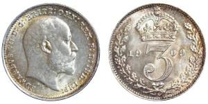 Edward VII. Silver Threepence. 1909. Scarce.