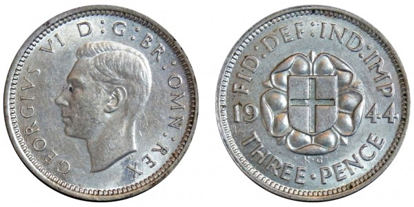 George VI. Silver Threepence. 1944. Rare
