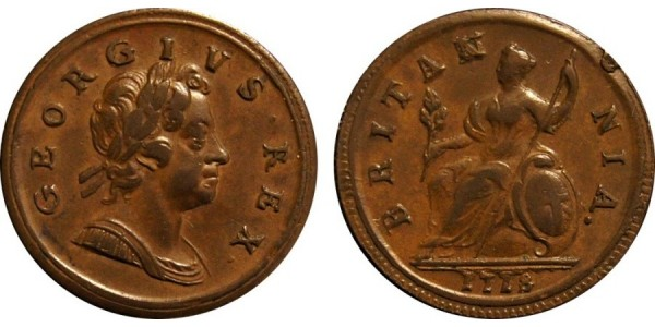 George I. Copper Halfpenny, 1718