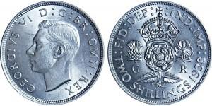 George VI, Silver Florin, 1938.
