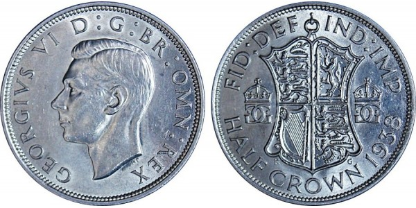 George VI, Silver Half-crown, 1938
