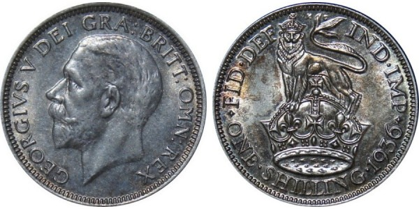 George V, Silver Sixpence, 1936