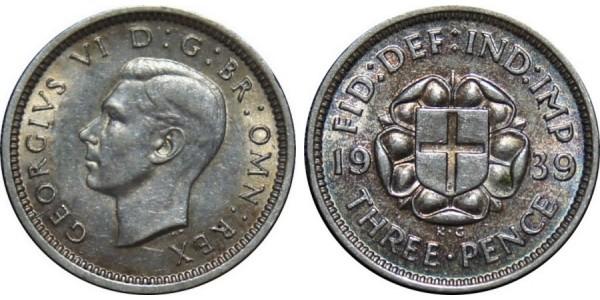 George VI. Silver Threepence. 1939. Scarce