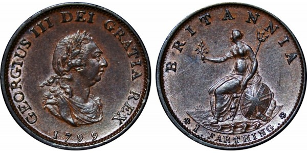 George III, Copper Farthing, 1799
