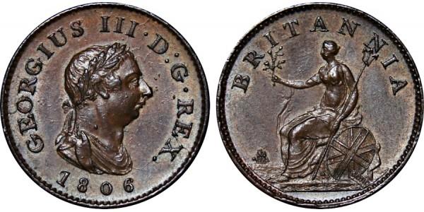 George III, Copper Farthing, 1806