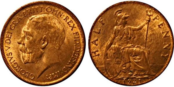 George V, Bronze Halfpenny, 1922