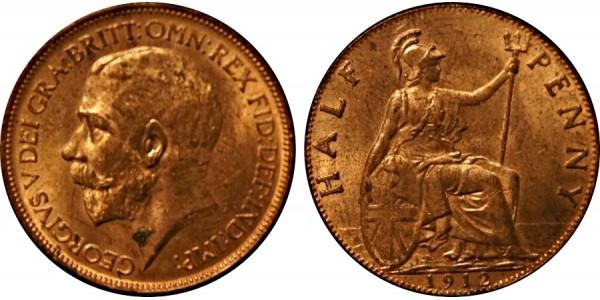 George V, Bronze Halfpenny, 1912