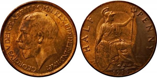 George V, Bronze Halfpenny, 1913