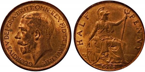 George V, Bronze Halfpenny, 1914