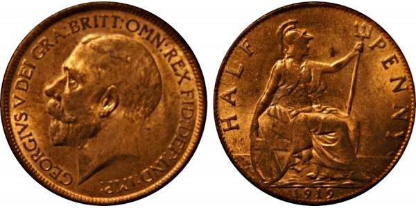 George V, Bronze Halfpenny, 1919