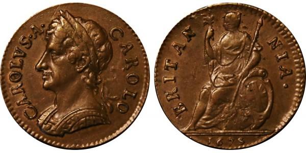 Charles II, Copper Farthing, 1675