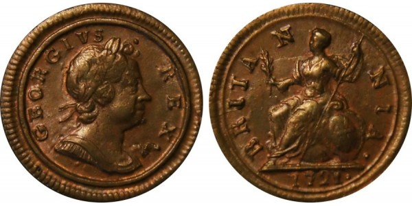 George I, Copper Farthing, 1721