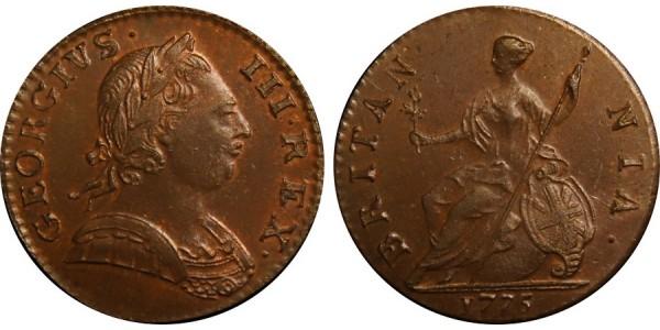 George III, Copper Halfpenny, 1775