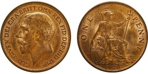 George V, Bronze Penny, 1920