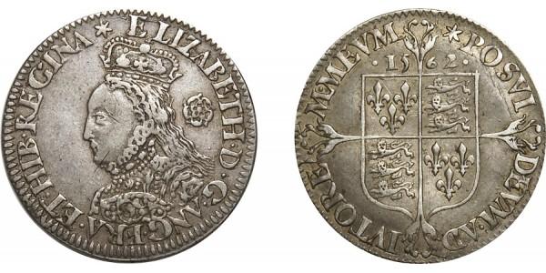 Elizabeth I. Milled Silver Sixpence. 1562