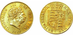 George III, Gold Half Sovereign, 1817.