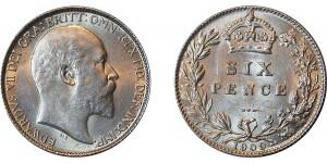 Edward VII, Silver Sixpense,1909.
