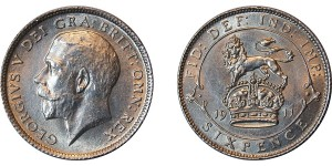 George V, Silver Sixpence,1911.