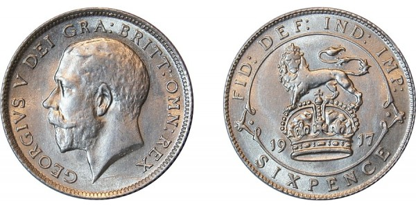 George V, Silver Sixpence,1917.