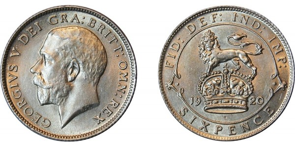 George V, Silver Sixpence, 1920.