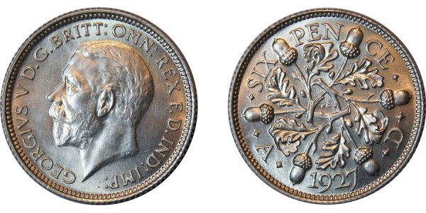 George V. Proof Silver Sixpence,1927