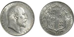 Edward VII, Silver Half-crown, 1909