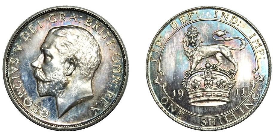 George V, Silver Proof Shilling, 1911.