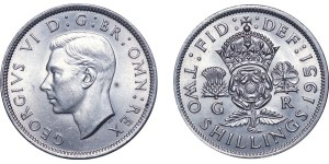 George VI, Cupro-nickel Florin,1951