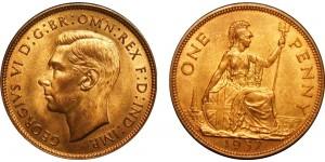 George VI, Bronze Penny, 1937