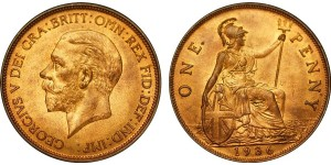 George V, Bronze Penny, 1936