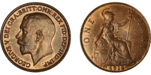 George V, Bronze Penny, 1918KN