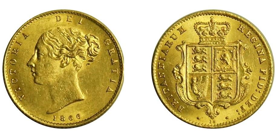 Victoria, Gold Half Sovereign.1866.